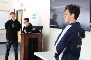 "Students in the ""Shark Tank"" presentation"